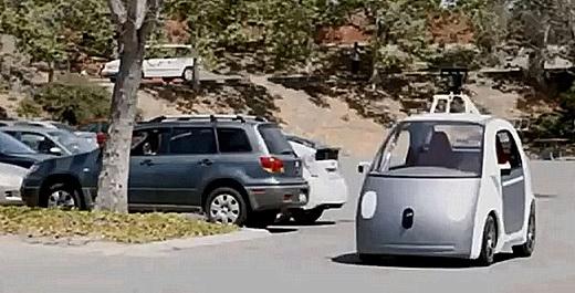 Google presenterte sin førerløse prototype i mai i år. Den er uten pedaler og uten ratt, men angivelig i stand til å takle ordinær trafikk. Utsnitt fra Googles presentasjonsvideo.