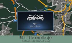 Når bilene «snakker» sammen og med veien, kan førerne varsles om farer som venter. Illustrasjon: Mercedes-Benz/Samferdsel.