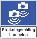 Automatisk måling av gjennomsnittsfart (SATK) varsles bl.a. med dette skiltet...