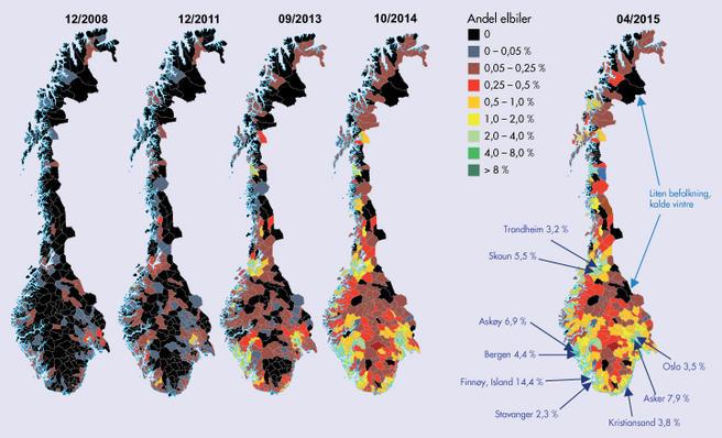 Kart over elbilutviklingen i Norge