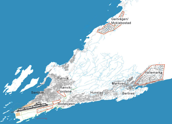 Kart Bodø Utbyggingsområder