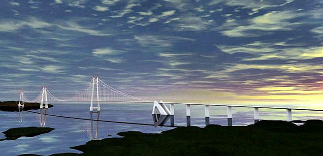 Modell av bro over Bjørnafjorden