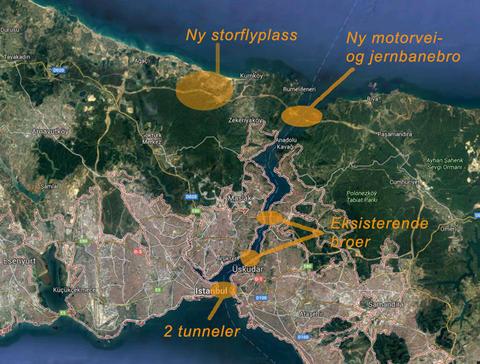 Kart med infrastrukturprosjekter
