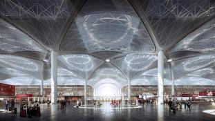 Illustrasjon inni ny flyplassterminal