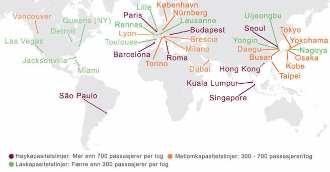 Kart over byer med automatisk metro