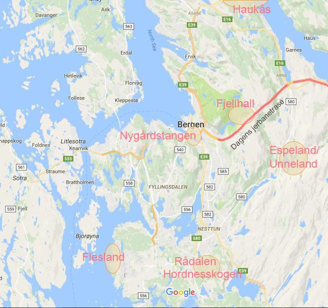 Kart over Bergen-området