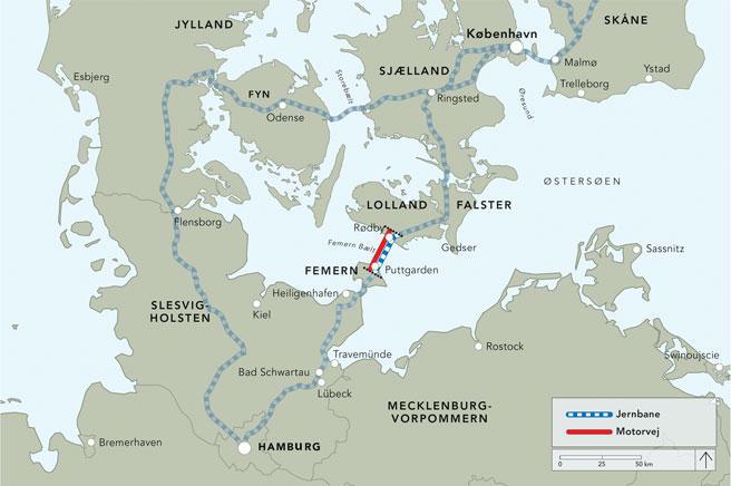 Kart av Femern-forbindelsen