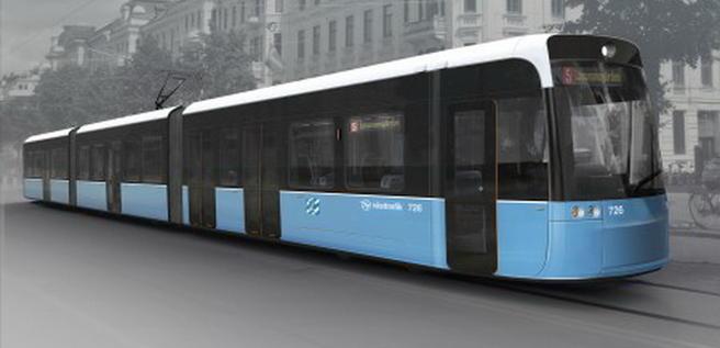 En foreløpig skisse. Kontraktspartene skal komme til enighet om mange detaljer, inklusive frontpartiets utforming, før produksjonen av nye trikker til Göteborg settes i gang. Illustrasjon: Göteborgs Spårväger/Bombardier.
