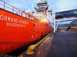 Normand Ranger i havn på landstrøm. Foto: Bergen havn