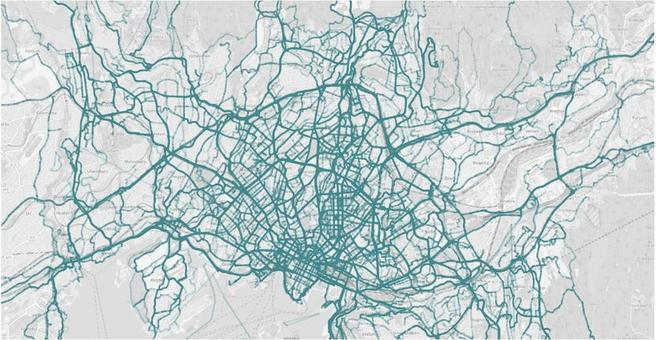 Figur 1: Illustrasjon av GPS-data fra SenseDat som blir brukt for sykkelfartsmåling i Oslo