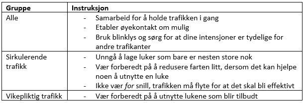 Tabell 1. Instruksjoner til førere