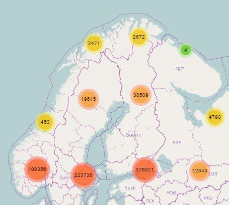 For en lang rekke land i verden finnes informasjon om geografisk posisjon på mobilmaster. Illustrasjon: opencellid.org.