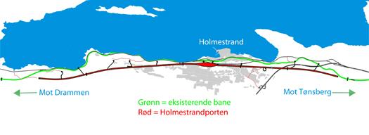 En rettere og raskere jernbanetrasé mellom Holm (retning Drammen) og Nykirke (retning Tønsberg). Og Holmestrand har fått en ny jernbanestasjon – inne i fjellet. Illustrasjon: Jernbaneverket.