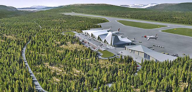 En mulig ny flyplass på Hauan ved Mo i Rana kan tenkes å bli seende ut omtrent som dette. Illustrasjon: Nordic Office of Architecture