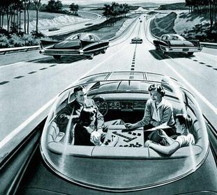 Ikke helt nytt, dette at noen har tanker om selvkjørende, elektrisk drevne biler. Denne illustrasjonen er en faksimile fra The Victoria Advocate 24. mars 1957. Kilde: Wikipedia.