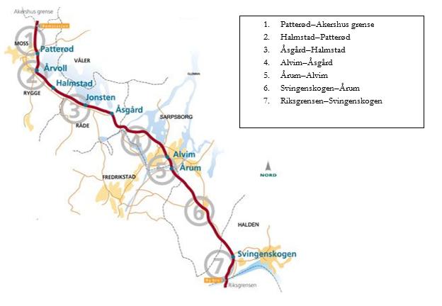 Figur 1: Oversiktskart E6 gjennom Østfold. Kilde: Statens vegvesen