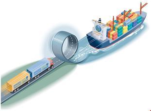 For mye landeveistransport, for lite sjøtransport, mener myndighetene. Kystverket benytter i denne sammenheng dette bildet. Illustrasjon: Midnordic Green Transport Corridor - NECL II.