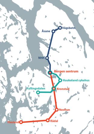Kart over bybanetraseer