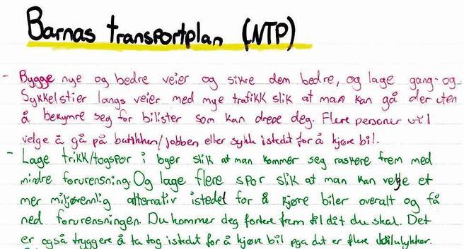 Utdrag av en høringsuttalelse fra Salangen skole, brukt som illustrasjon i kapittel 7, Barnas transportplan, i stortingsmeldingen om NTP 2018–2029.