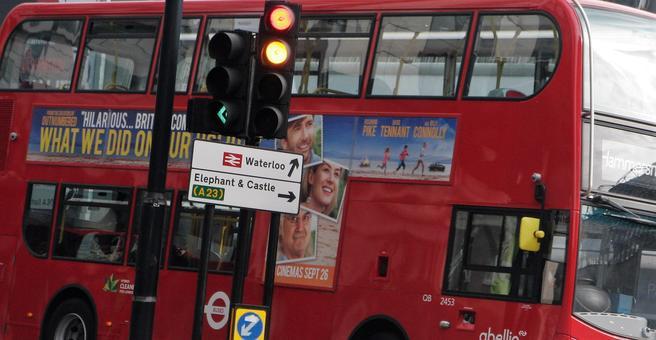 London figurerer med tusener av busser og millioner av daglige busspassasjerer. Foto: F. Dahl.