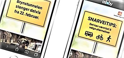 Eksempler på annonsering via digitale flater.