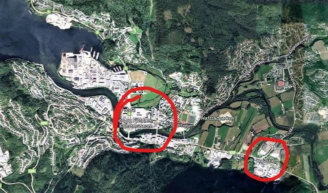 Det aktuelle handelsområdet, innringet nede til høyre, ligger øst for det sentrale Førde. Illustrasjon: Google Maps/Samferdsel.