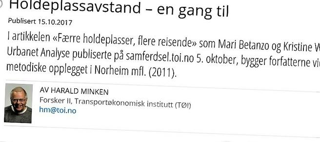 TØI-forsker Harald Minken får tilsvar etter å ha skrevet dette innlegget.