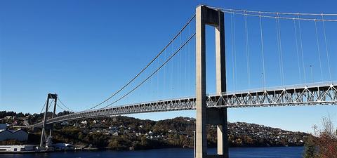 Sotrabrua over Knarresundet mellom Lillesotra og Bergen.  Artikkelforfatterne skriver at «siden broen åpnet i 1971, har befolkningen på øyene utenfor mer enn tredoblet seg, og trafikken har vokst fra drøye 600 kjøretøy per døgn til nærmere 30 000.» Foto: broer.no