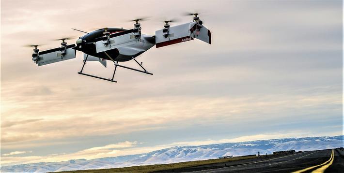 En potensiell førerløs eltaxi. Illustrasjon: Airbus.