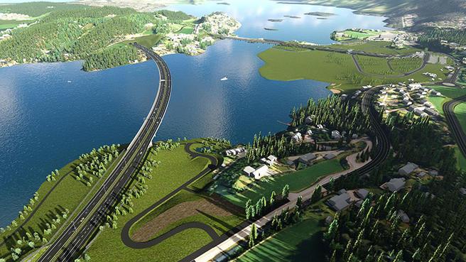 Jernbane- og veiprosjektet har sine tilhengere – og sine motstandere. Slik kan en ny motorveistrekning ved Sundvollen bli seende ut. Illustrasjon fra Fellesprosjektet.