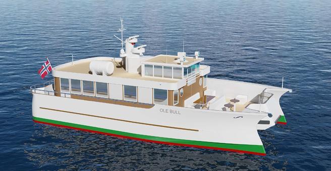 Slik blir den nye «Ole Bull», skyssbåten som skal frakte besøkende til Ole Bulls hjem på Lysøen. Illustrasjon: Atle Ellefsen/DNV GL.