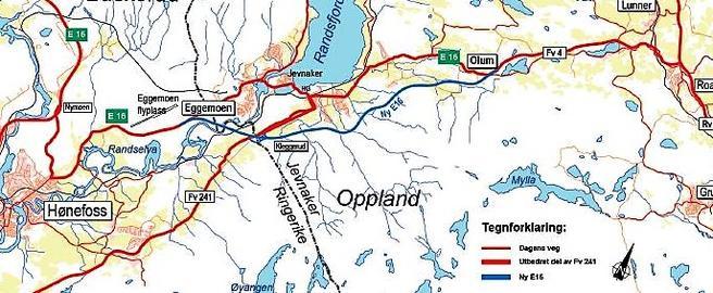 Den aktuelle delen av E16 (den nye traseen i blått) fungerer allerede i dag som en ytre ring nord for Oslo.