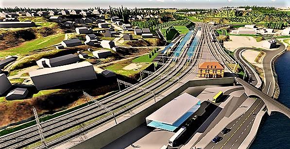 Ikke alle er enige i planene for bygging av en jernbanelinje mellom Sandvika og Hønefoss. Illustrasjon: Bane NOR.