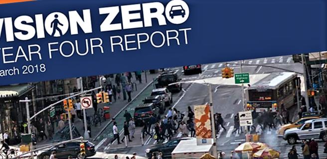 214 trafikkomkomne i New York City i 2017, færre enn noe tidligere år etter at statistikkføringen begynte. Illustrasjon: nyc.gov/visionzero.