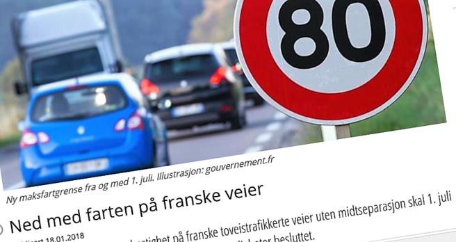 Frankrike fartsreduksjon 80 90