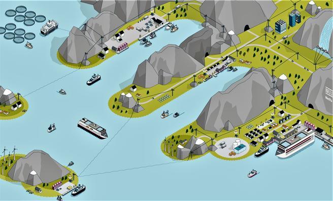 En forsterket infrastruktur for fornybar energi i havnene er en forutsetning for å lykkes, ifølge Bellona. Illustrasjon: Bellona/Nelfo/Elektroforeningen.