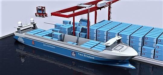 Et autonomt og elektrisk drevet containerskip. «Yara Birkeland», nå under bygging, blir hyppig brukt som eksempel på hvordan ny teknologi er i ferd med å forandre skipsfarten. Illustrasjon: Yara.