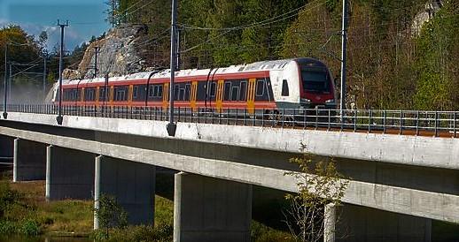 Larvik–Porsgrunn med en togfart på opptil 250 km/t. Foto: Hans Morten Tamnes/Bane NOR