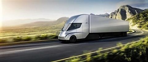 Elektrisk drevet godstransport på landeveien … California-baserte Tesla er blant dem som arbeider med saken. Illustrasjon: Tesla.