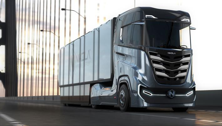 Hydrogen-elektrisk lastebil. Omtrent sånn kan den bli seende ut. Illustrasjon: Nikola Motors.