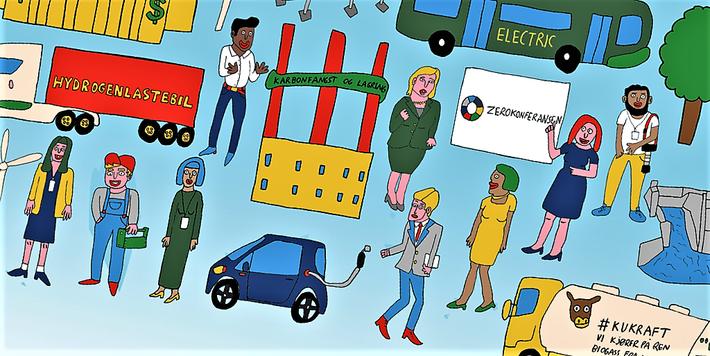 Klipp fra en illustrasjon til Zerokonferansen 2018.