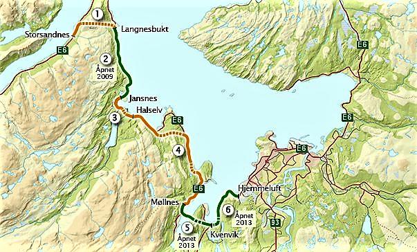Storsandnes–Langnesbukt, den nyeste av de fornyede veistrekningene, sees øverst til venstre. Kart: Statens vegvesen.