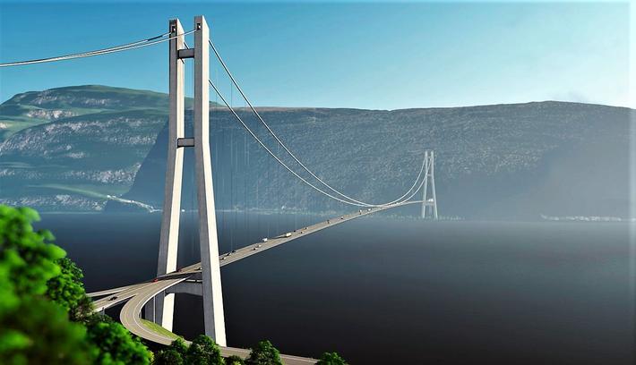 Den påtenkte broen, sett fra Svarstad og sørover. Illustrasjon: Multiconsult