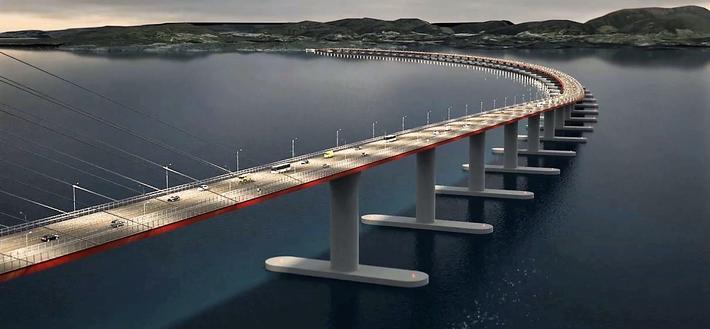 En av flere mulige løsninger for en bro over Bjørnafjorden. Illustrasjon: Statens vegvesen