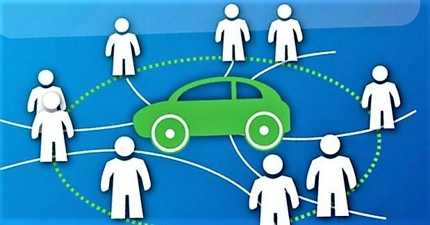 «Bildeling kan vise seg å bli en avgjørende del i overgangen fra bruk av egen bil til bruk av mobilitet som en tjeneste», skriver artikkelforfatterne. Illustrasjon fra sharedmobility.news