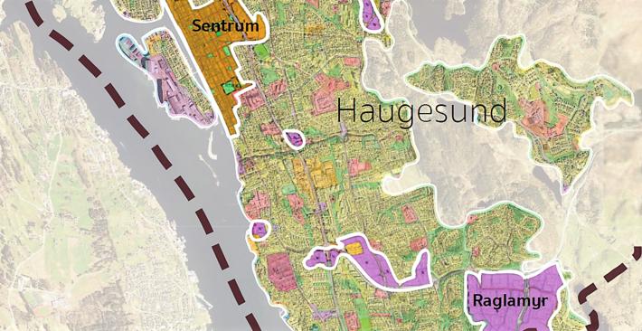 Strand og Eidesen går nært inn på prosessen knyttet til etableringen av Coop Obs Bygg på industriområdet Raglamyr i Haugesund kommune. Kart fra Eidesens masteroppgave.