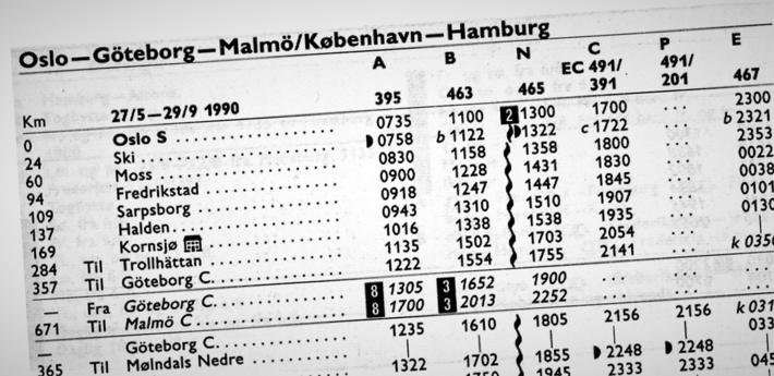 Klipp av rutetabell fra sommeren 1990. Innspill-forfatteren fastslår at det den gangen gikk fire daglige tog fra Oslo mot Danmark/kontinentet pluss et ekstra sommertog til København.  Kilde: Rutebok for Norge