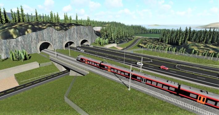 Et inntrykk av den påtenkte Ringeriksbanen. Illustrasjon: ViaNova