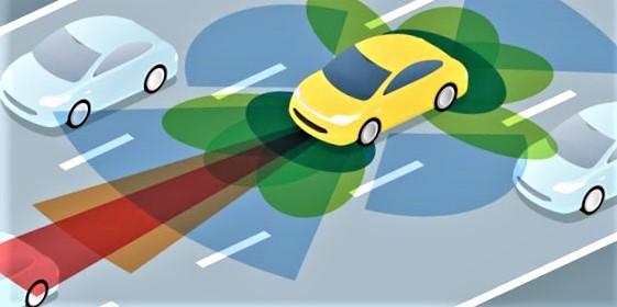 Selvkjørende. «Bilene må utveksle informasjon med andre trafikkenheter, med veien og med en tilhørende digital veitrafikksentral hvis selvkjørende biler skal kunne operere sikkert», skriver Per Andreas Langeland. Den gule bilen på bildet leser sine omgivelser, men utveksler ikke informasjon med dem.  Illustrasjon: Renesas