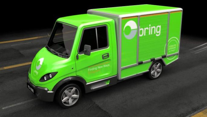 El-lastebil, utslippsfri. Slik ser den ut. Posten-enheten Bring skal bruke fem eksemplarer av den i sin virksomhet i Sverige. Illustrasjon: Posten